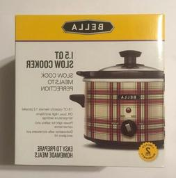 Bella 1.5 Quart Slow Cooker Crock Pot Red Green Plaid Christ