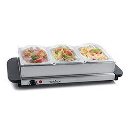 NutriChef 3 Tray Buffet Server & Hot Plate Food Warmer | Tab