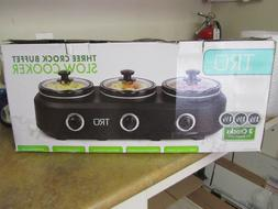 TRU 4.5QT  Triple Crock Slow Cooker Buffet Server Warmer Bla