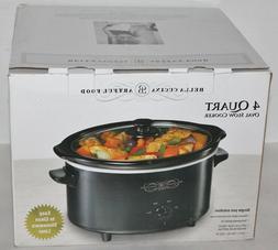 Bella Cucina - 4 Qt Slow Cooker -  Oval Crock Pot - Black -