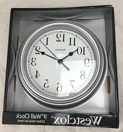 Westclox 46984 Simplicity 8 Inch Round Wall Clock- Silver