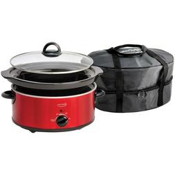 5-Quart Oval Slow Cooker with Travel Bag High Warm Low Setti
