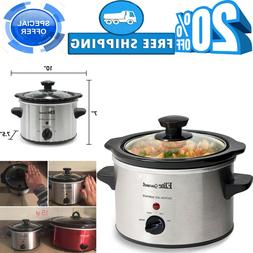 5Small Slow Cooker Stainless Steel Crock Pot Mini Kitchen Ap