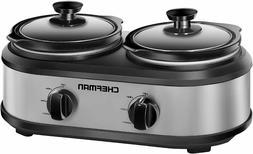 Chefman - 2.5-Quart Slow Cooker - Stainless Steel/Black