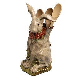 Porcelain Sculpted Rabbit Utensil Holder - Kitchen Crock Flo
