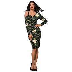 K Jordan Asymmetric Cold Shoulder Dress Black/ Multi XL