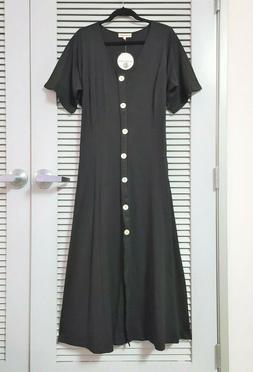 black button detail V-neck short slev long dress 1XL