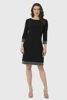 Joseph Ribkoff Black Embellished 3/4 Sleeve Cocktail Dress 1