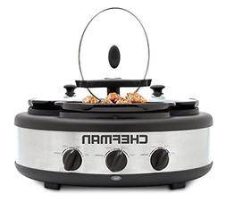 Chefman Cooker & Buffet Server with 3 Removable 1.5 Qt. Oval