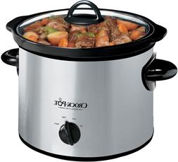 Crock-Pot 3-Quart Round Manual Slow Cooker, Stainless Steel