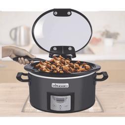 Crock-Pot 4 Quart Lift & Serve Hinged-Lid Slow Cooker Serves