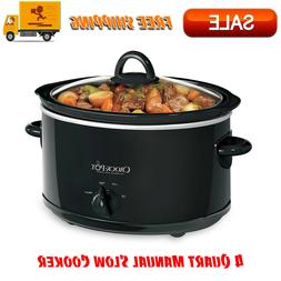 Crock-Pot 4 Quart Manual Slow Cooker, Black, Dishwasher Safe