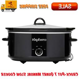 Crock-Pot 7 Quart Manual Slow Cooker, Black, Dishwasher-Safe
