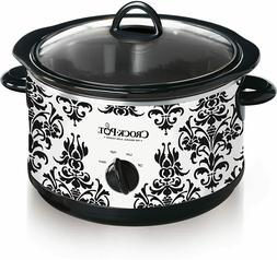 Crock Pot  Manual Slow Cooker Damask Pattern Removable DishW