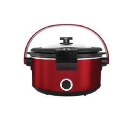 Crock Pot Chefman Slow Cooker with Carry Handle, 5 quart, Bl