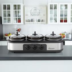 Crock Pot Trio Cook Serve Slow Cooker Stainless Steel Food W