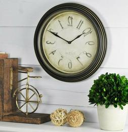 Distressed Aged Black Round Wall Clock Analog 9.75-in Kitche