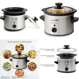 Electric Slow Cooker Small Crock Pot Mini Stainless Steel Co