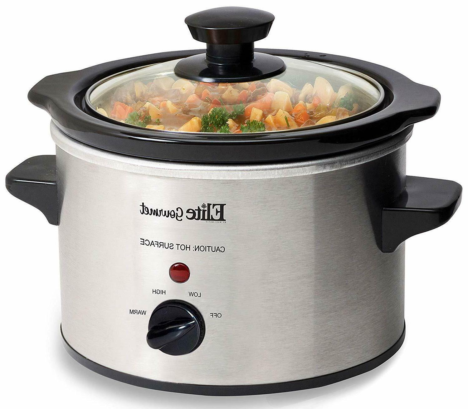 1.5 Quart Electric Slow Cooker Crock Pot Stainless Steel Coo