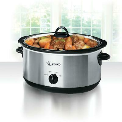 8 Qt. Black Stainless Steel Manual Slow Cooker W/ Glass Lid,
