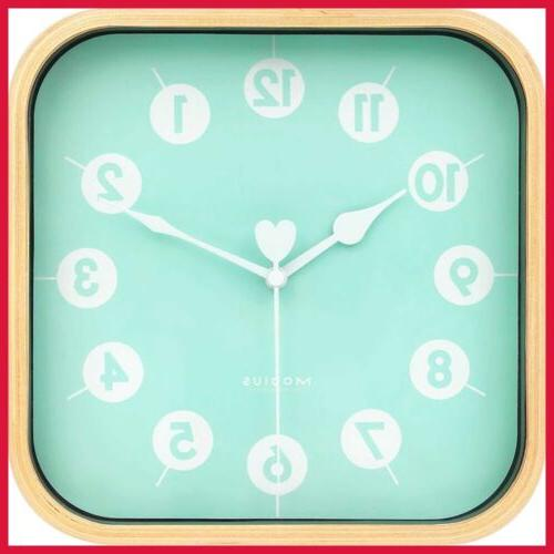 """9"""" Silent Square Wall Clock Wood Non Ticking Digital Quiet S"""