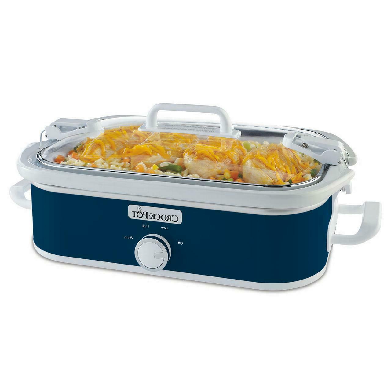 Crock-Pot 3.5 Quart Casserole Midnight Blue Slow Cooker, Din