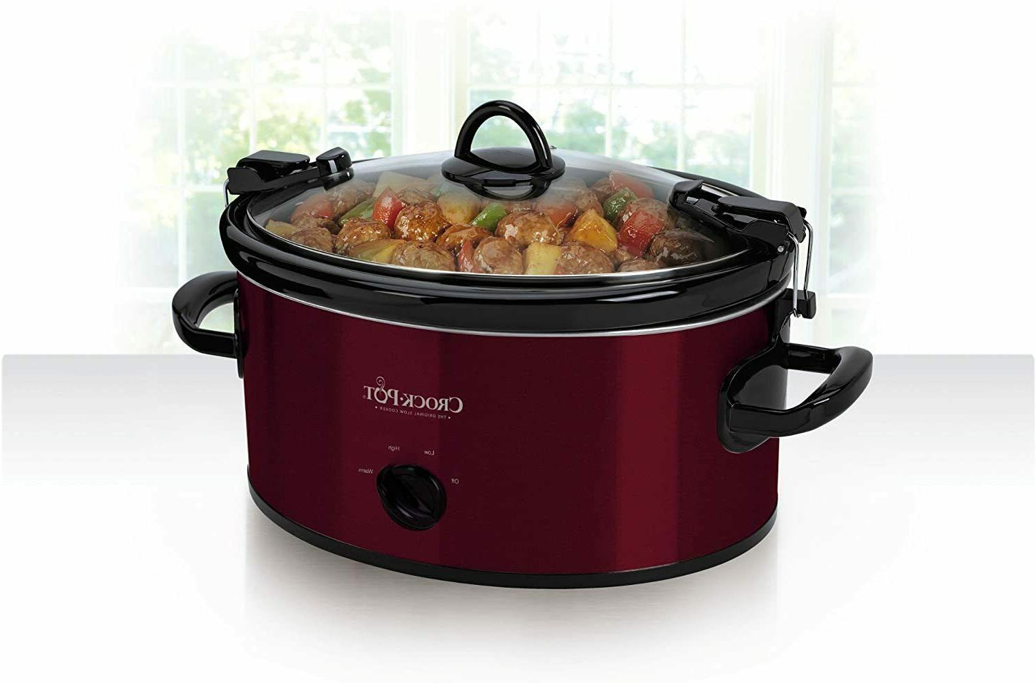 Crock-Pot Carry Oval Manual Slow Cooker Red SCCPVL600R