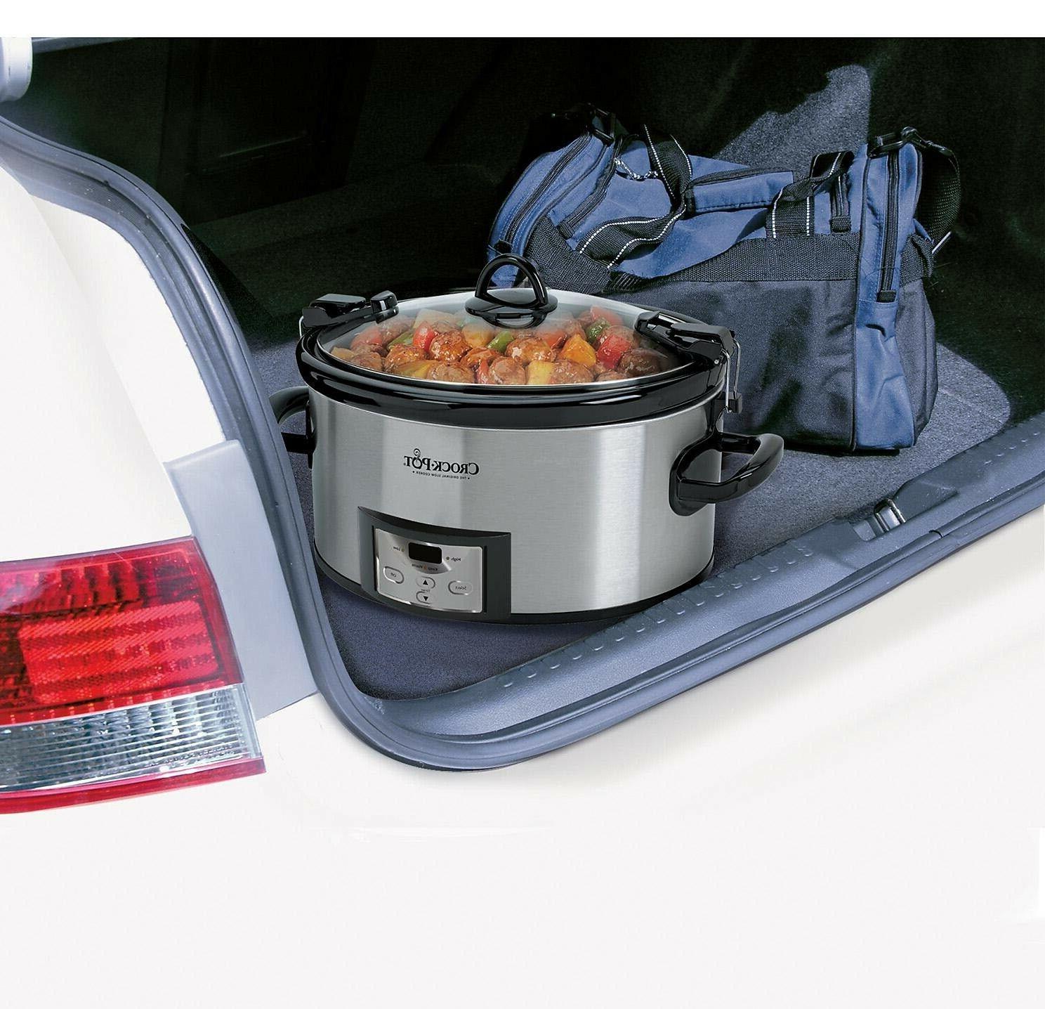 Crock-Pot Programmable Cook Carry 7 Quart Slow Cooker