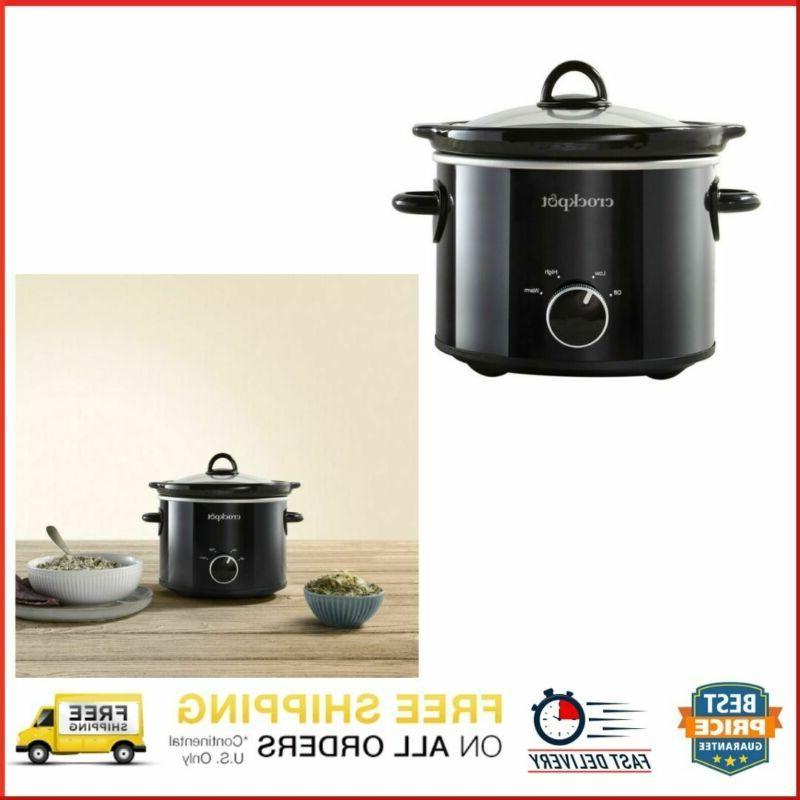 Crock 2 Manual Cooking Round Stoneware Kitchen Black