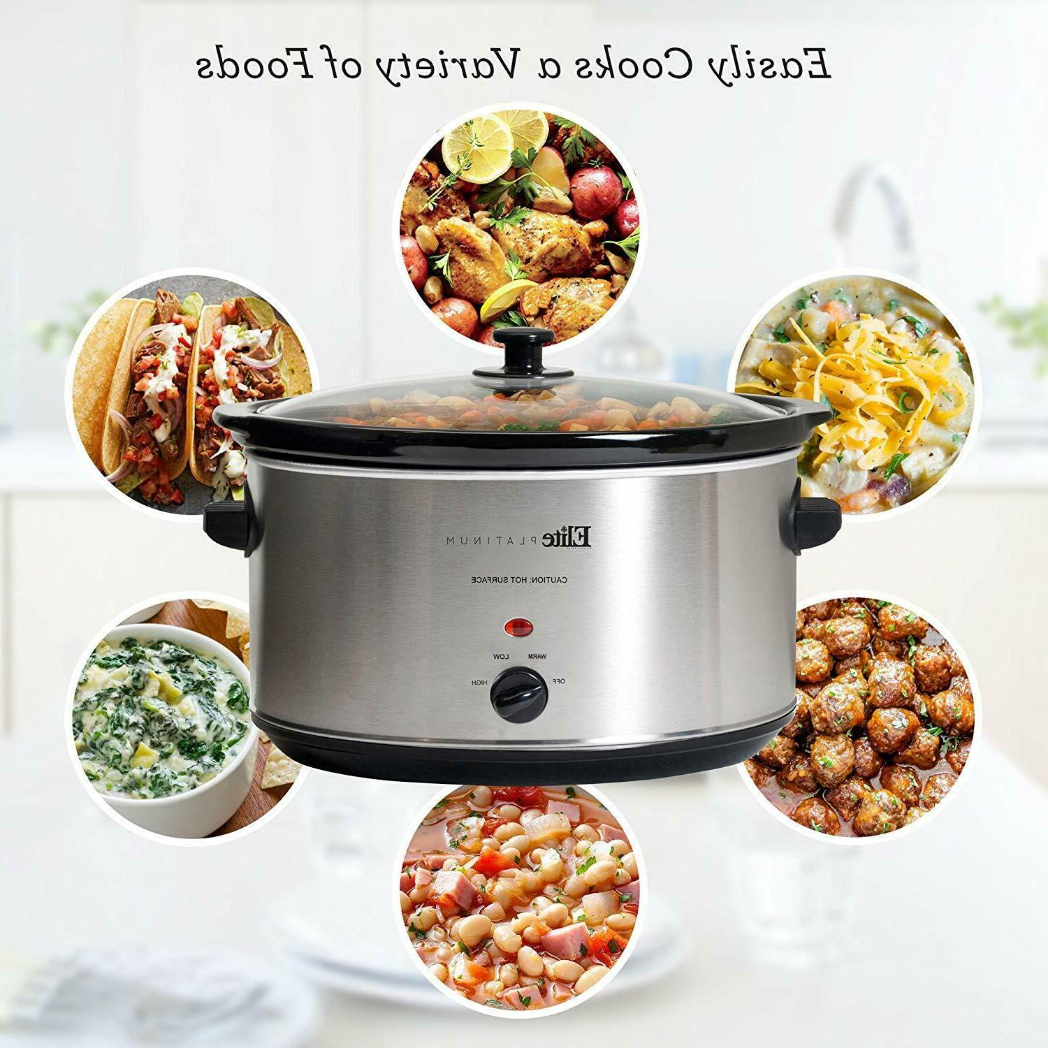 Large Capacity Crock Pot Stainless Steel Slow Cooker Oval Ma