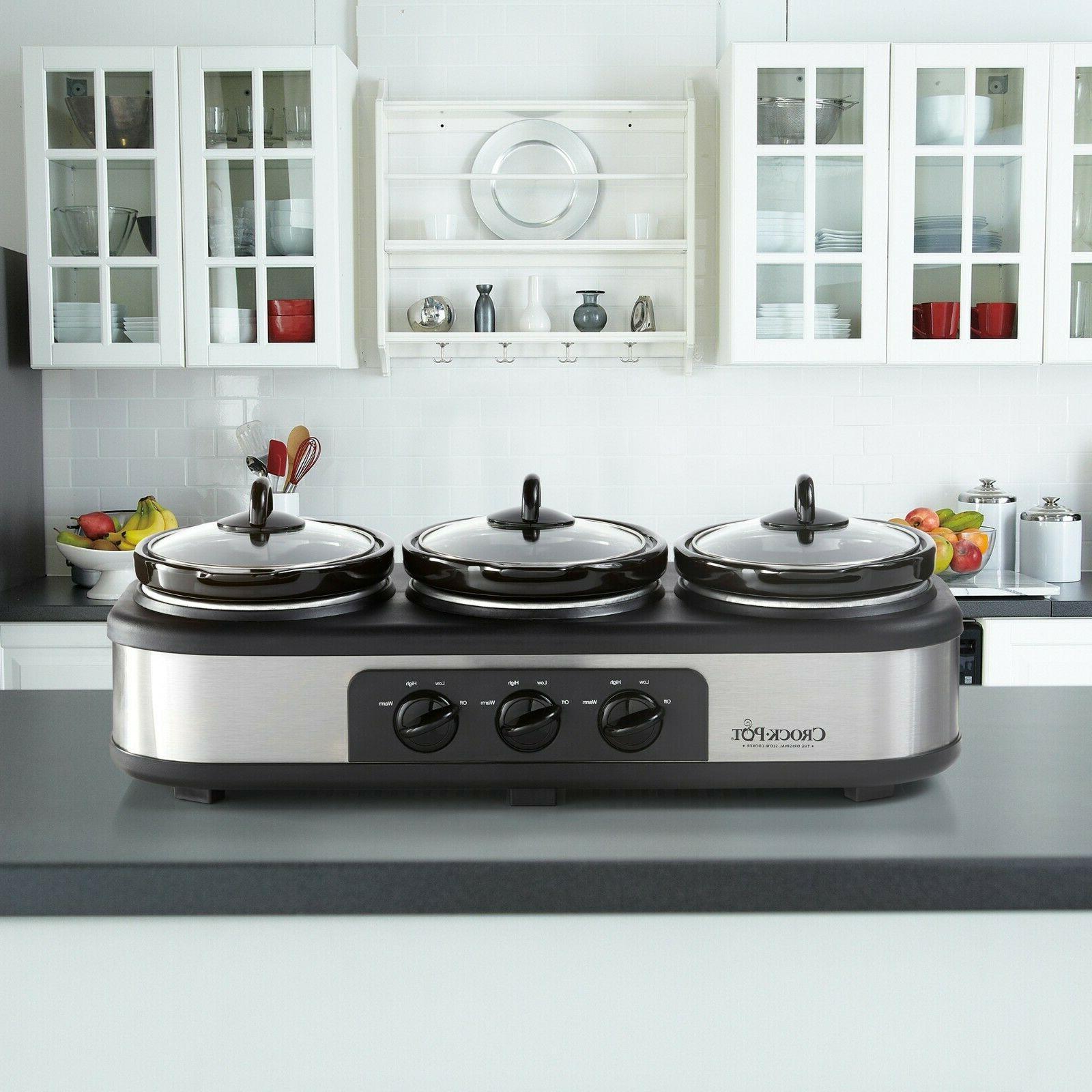 Crock-Pot Trio Serve Slow Cooker Food Warmer, Steel