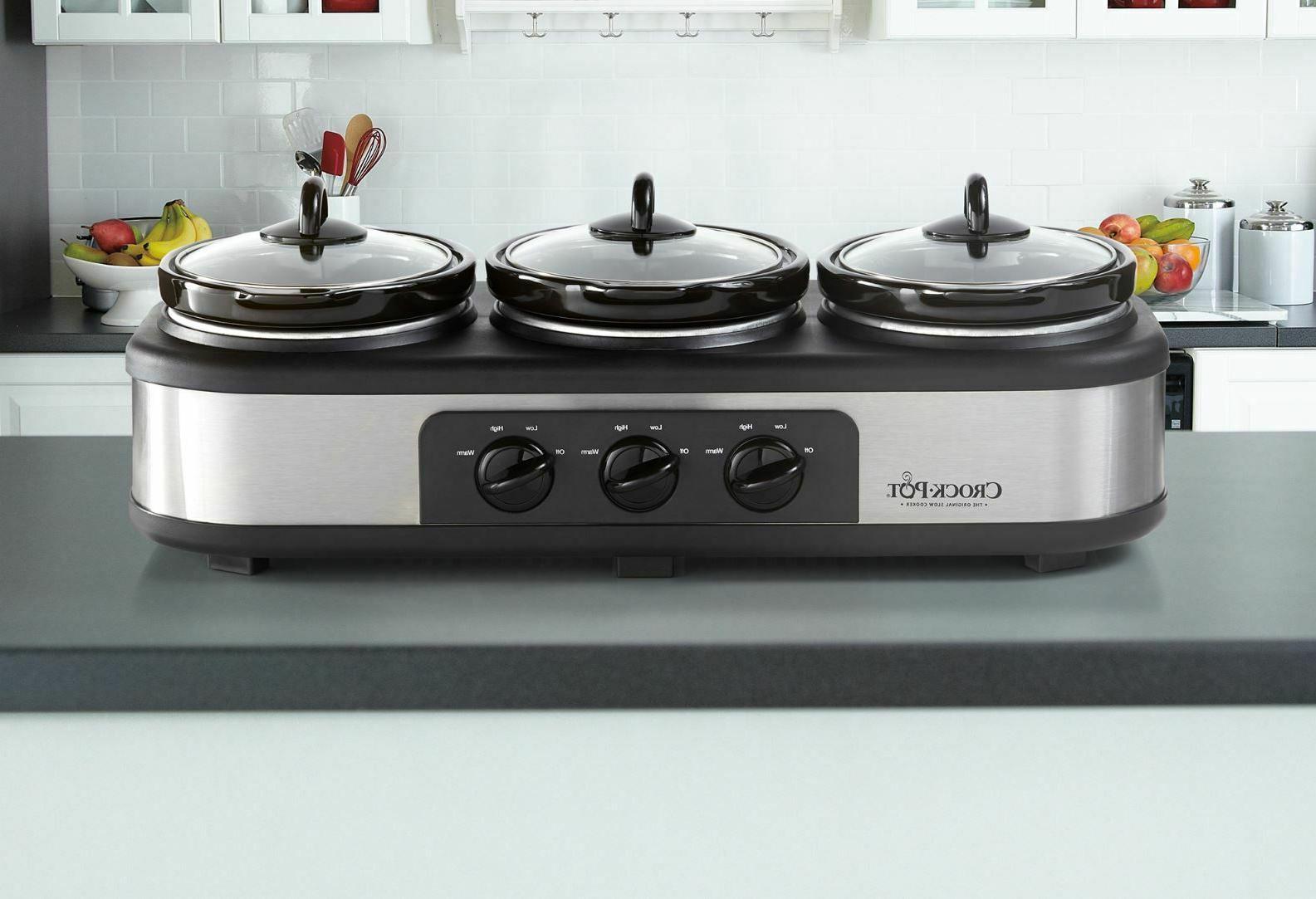 Crock-Pot Triple Stainless Steel Buffet Server Food Warmer