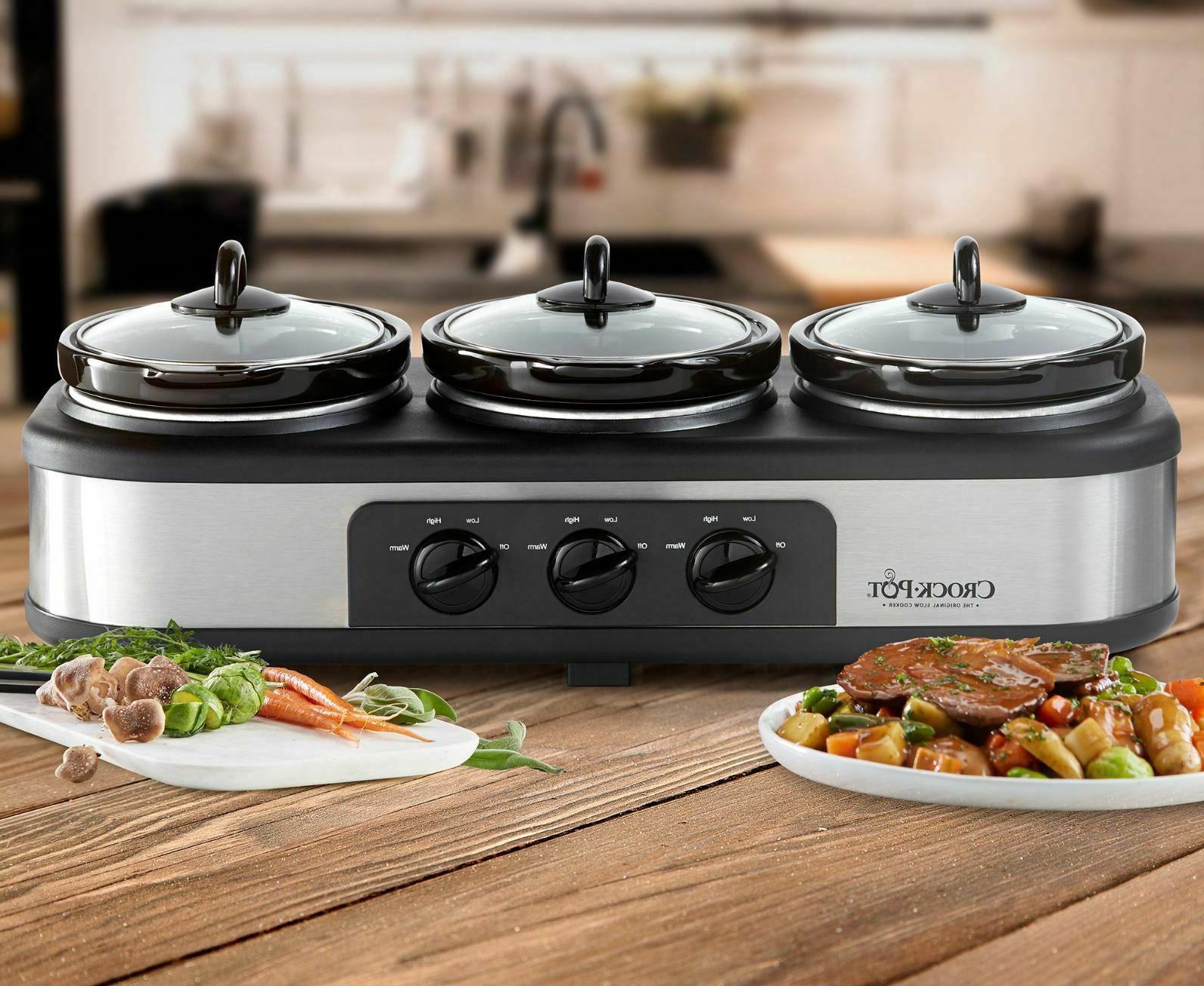 crock pot triple slow cooker stainless steel