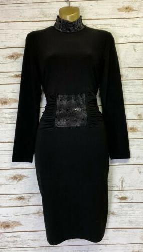 design lbd black embellished stretch dress sz