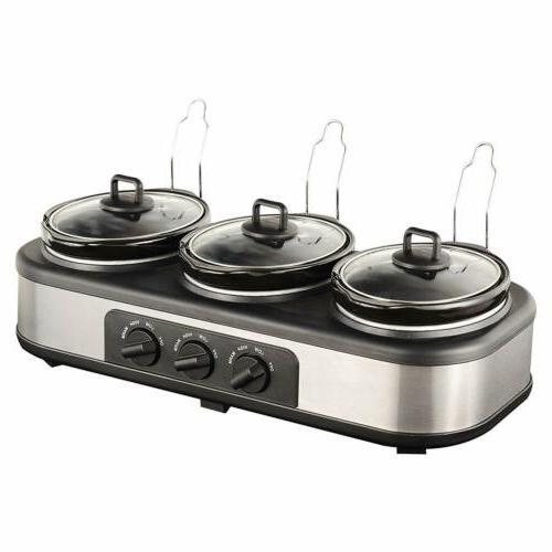Electric 3x1.5 Quart Triple Slow Cooker Buffet Server