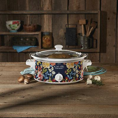 Hamilton Pioneer Crock Pot Portable Slow Cooker Floral
