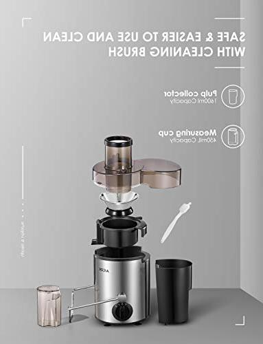 Juicer Aicok Centrifugal with Mouth, Speed Extractor for Fruit and Vegetable, Steel BPA