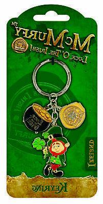 Keyring Crock McMurfy Leprechaun Silver colored Luck O'The I