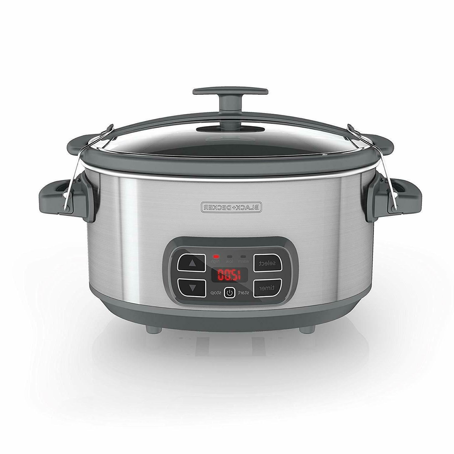 large programmable slow cooker 7 quart stainless