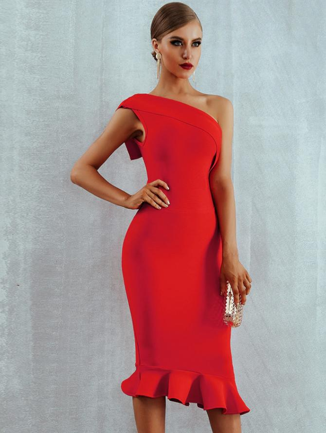 NEW! RED RUFFLE BANDAGE NUDE COCKTAIL DRESS
