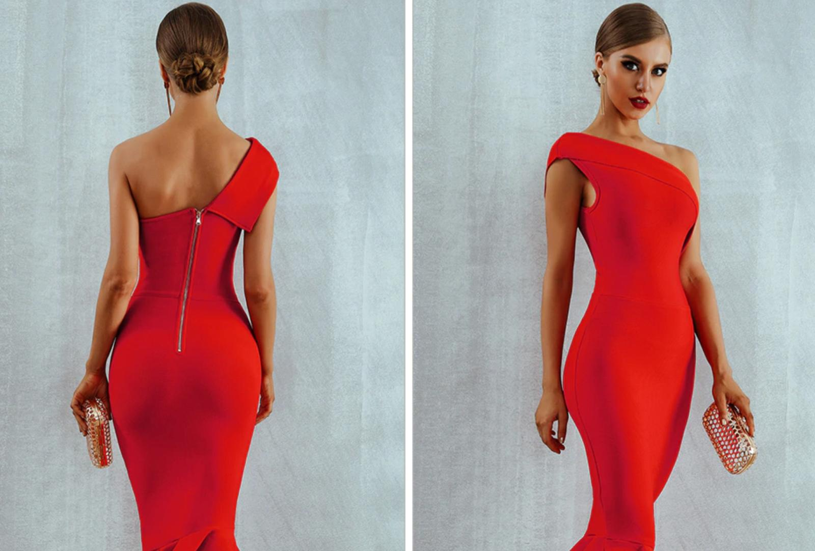 NEW! RED RUFFLE COUTURE BANDAGE DRESS NUDE DRESS