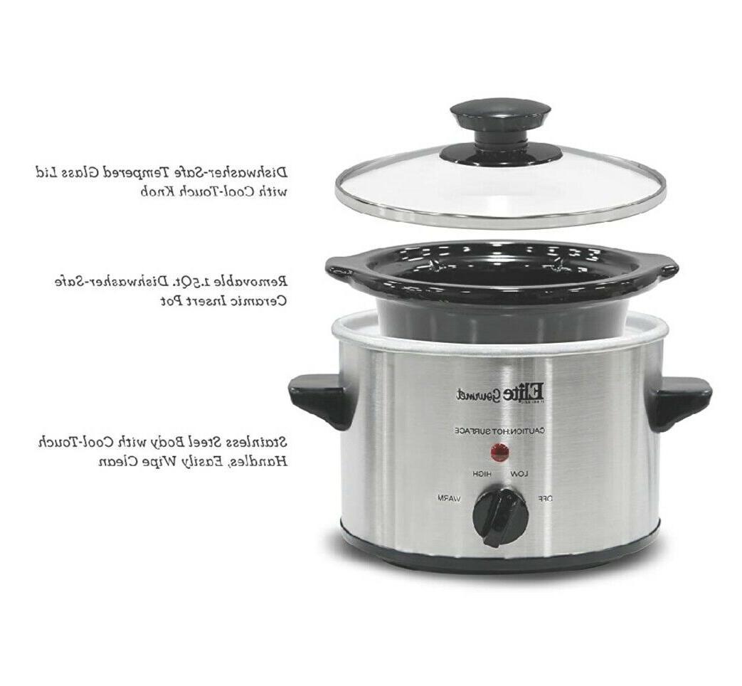 Small Slow Steel Crock Pot Kitchen Appliance