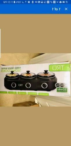 Tru Triple Slow Cooker Crock Pot 3x 1 1/2 Quart Lid Cook Thr