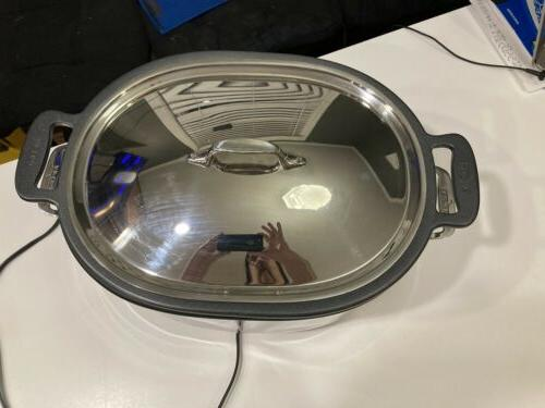 Used All Cooker Crock Pot SD700450 Stainless top cover