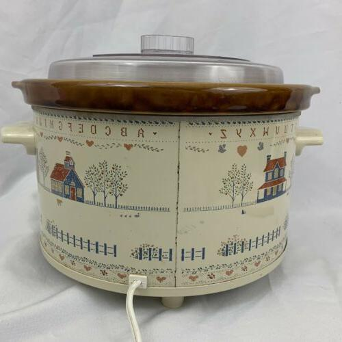 Vintage QT Crock Pot Cross Sampler Houses 3355