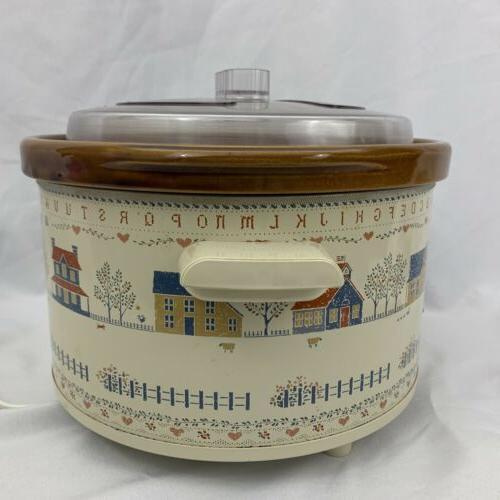 Vintage 5 Crock Pot Sampler Art Houses 3355