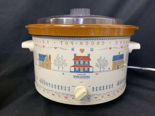vintage 5 qt crock pot cross stitch