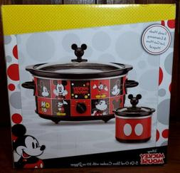 Mickey Mouse 5 Quart Oval Slow Cooker w/ 20 Oz Dipper Crock