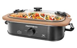 Chefman Natural Casserole Slow Cooker with Locking Lid, Ston