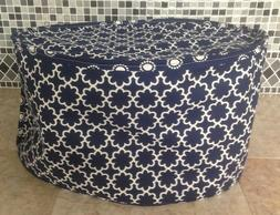 Navy Blue and White Oval Crock Pot Dust Cover for 6 Quart Ma
